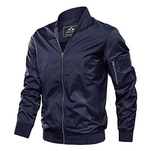 TACVASEN Men's Jacket-Lightweight Thin Sportwear Flight Bomber Softshell Coat, Navy L