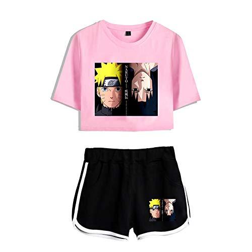 Anime Naruto Nueva Conjuntos Deportivos Hokage 2pcs Crop Top Pantalones Cortos Set Deportiva Camisetas Uchiha Sasuke Haruno Sakura Deportiva Corto T-Shirt Verano para Yoga Fitness Chándales