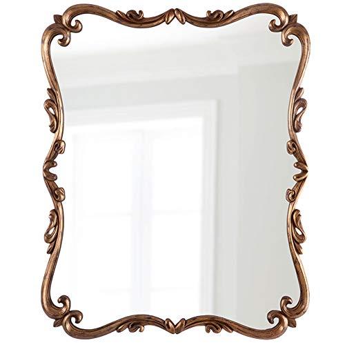 Wandspiegel Vintage-look gesneden ingelijst hout opknoping spiegels met mooie rand en patroon (D35 X W23inches)