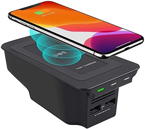 Caricabatterie Wireless per Auto,per Volvo S90 V90 XC90 XC60 V60 S60 2020 2019 Pannello accessori per console centrale Pad di ricarica wireless,con doppie porte USB QC3.0 da 18W Qi telefono10W charger