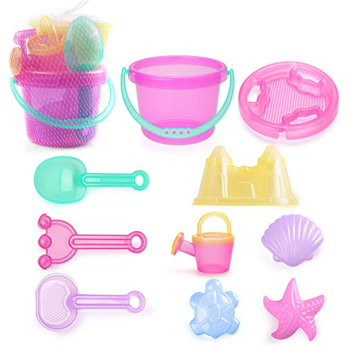 LotFancy 10 Piece Kids Beach Sand Toys Set, Sand Toys for Toddlers, Beach Toy Set with Sand Bucket, Star Shell Castle Mold, Sand Sifter Cover, Rake, Watering Can, Shovel Tool Kit for Kids Outdoor Toys
