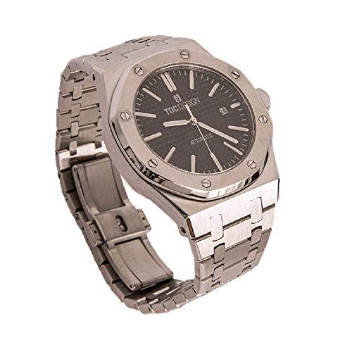 TOC Design Royal One by Didun Sportlich Elegante Herren Automatik Uhr, Saphirglas, massives Armband, Miyota Uhrwerk, Silber/schwarz