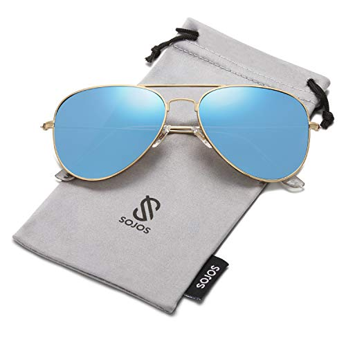 SojoS Gafas De Sol Para Hombres Y Mujeres Aviator Clásico Marco Metal Lentes Espejo Polarizadas SJ1054 Marco Dorado/Lentes Azules