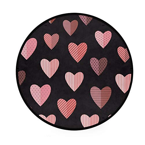 Love Heart Tapis rond antidérapant doux pour le yoga et le jeu d'animaux de compagnie pour chambre à coucher, salon, salle de jeux