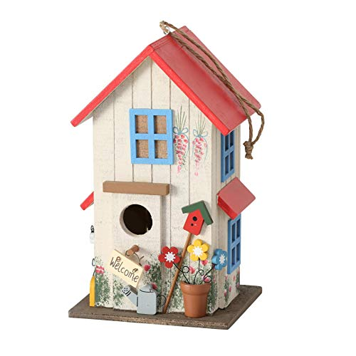 CasaJame Wooden Bird House Colourful and Red for Garden, Nesting Box, House for Birds, Bird House, Balcony Decoration, 15 x 13 x 26 cm