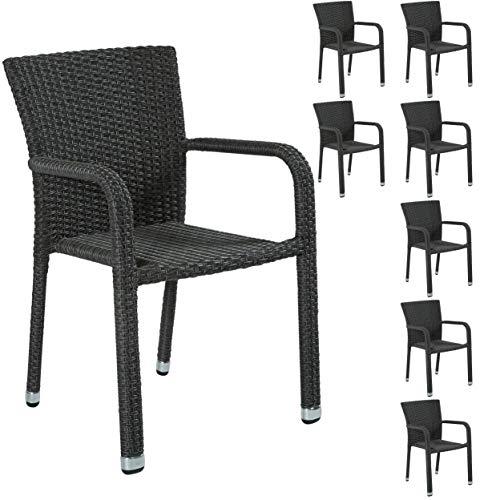 8er Set stapelbarer Gartenstuhl aus der Möbelserie Barcelona in grau mit Armlehnen exkl. Auflage für Garten, Terrasse oder Balkon - Gartenmöbel Stühle Terrassenstuhl Balkonstuhl Stuhl Gastro