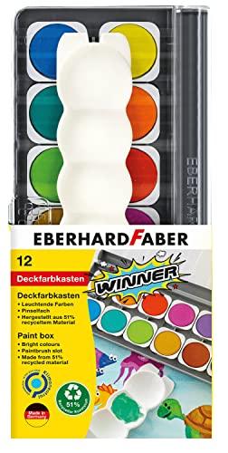 Eberhard Faber 578312 - Winner Deckfarbkasten mit 12 kräftigen Farben in austauschbaren Farbnäpfen, Deckweiß und Mischpalette, für Schule, Freizeit und Hobby
