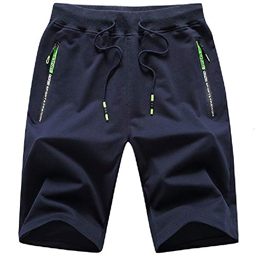 JustSun Kurze Hosen Herren Shorts Sommer Kurze Jogginghose Baumwolle Sweat Sport Shorts mit Reißverschluss Blau L