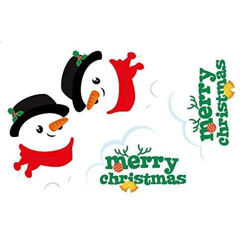 ODJOY-FAN Doppelseitig Weihnachten Schneemann Türaufkleber Wandaufkleber Fenster Glas Hintergrund Dekoration AbziehbildEntfernbar Aufkleber 30X45cm(Multicolor,1PC)