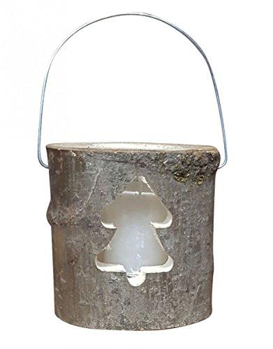 Fachhandel Plus Baumstamm Deko Laterne als Windlicht inkl. Glaseinsatz mit Echtwachskerze, Motiv:Tanne