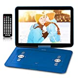 WONNIE 17.9' Portable DVD/CD Player with 15.4' Large Swivel HD Screen, 6 Hours 5000mAH Rechargeable Battery, Support USB/SD Card/ Sync TV, Regions Free, Car Charger, Remote Control for Kids, Blue