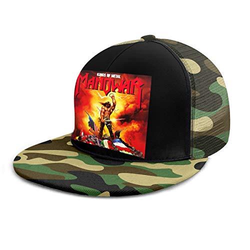 Damen Herren Manowar-Kings-of Metal Logo Black Snapback Baseball Hat Cap Baseballcap Kappe Flatbrim Mütze Für Jungen Mädchen