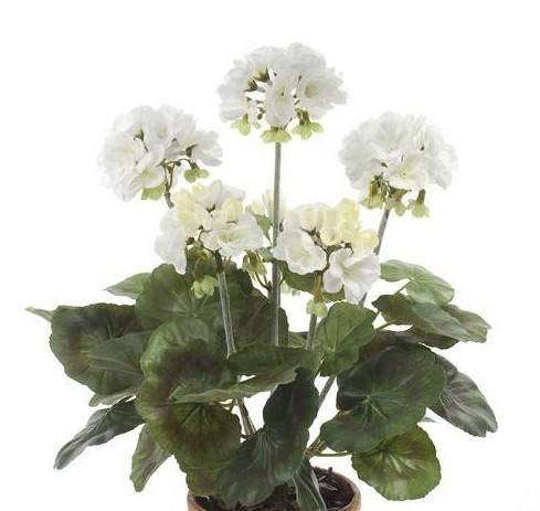 Artplants Set 12 x Geranio Artificial MASALIA en Vara de Ajuste, Blanco, 35cm - Geranio de plástico/Flor Falsa