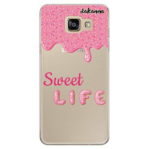dakanna Funda Compatible con [Samsung A5 2016] de Silicona Flexible, Dibujo Diseño [Donut glaseado Rosa con Frase Sweet Life], Color [Fondo Transparente] Carcasa Case Cover de Gel TPU para Smartphone