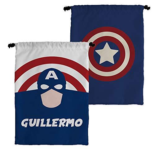 Bolsa Merienda Superhéroes Personalizada con Nombre | Regalo Friki | Vuelta al Cole | Varios Diseños a Elegir | Capitán América