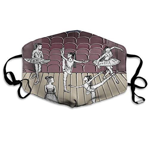 Dance Themed Image Of Sketchy Tekening Van Ballerina's Op StagePrinting Veiligheid Mond Cover voor Volwassenen