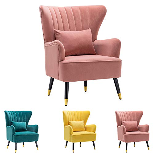 INMOZATA Pink Armchair Velvet Accent Chair Scalloped Shell High Wing Back Occasional Tub Chairs for Heavy People Adult Kids (Pink)