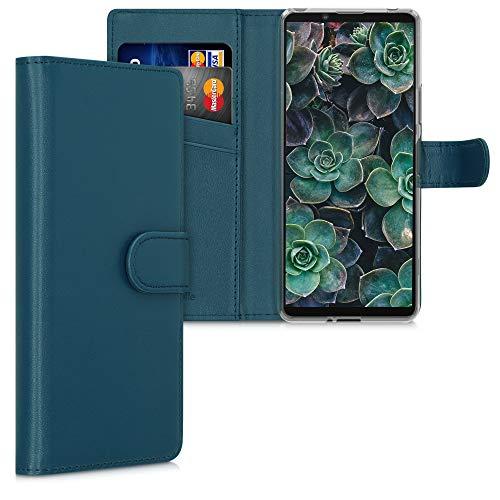 kwmobile Coque Portefeuille Compatible avec Sony Xperia 10 II - Étui à Rabat avec Compartiments Cartes et Fonction Support pétrole