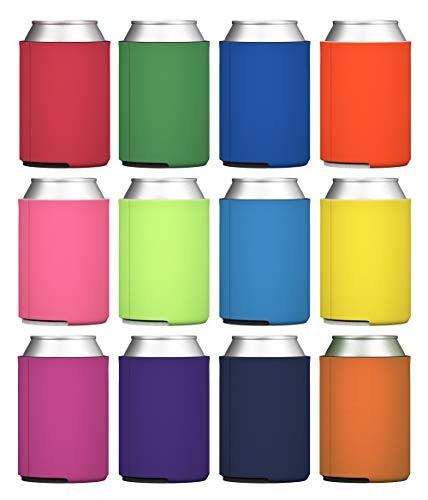 TahoeBay Blank Beer Can Coolers, Plain Bulk Collapsible Foam Soda Cover Coolies, Personalized Sublimation Sleeves for Weddings, Bachelorette Parties, HTV Projects (Multicolor)