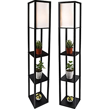 Shelf Floor Lamp Black,2 Pcs Standing Lamps with White Shade and Solid Wood Frame (2 pcs light)