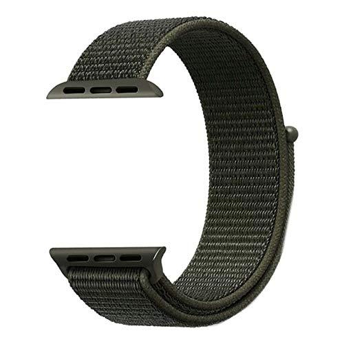 WTYCHS Cinturini Men Women;con Motivo colorato;per Apple Watch Serie 1 2 3 4 Cinturino in Nylon Intrecciato per iWatch 38mm 42mm 40mm 44mm ,Nero Scuro,per Orologio 42mm 44mm