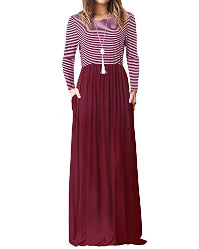YOINS Maxikleider Damen Strandkleid Sommerkleid für Damen lang Ärmellos Strandmode mit Streifen Langarm-Rotwein EU40-42