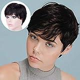 Becus 100% cabello humano Pixie Cut peluca pelo corto en capas rectas con flequillo de parte lateral libre para mujeres (negro natural # 1B)