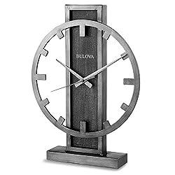 Bulova B1864 Streak Tabletop Clock, Aged Silver-Tone