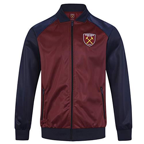 West Ham United FC - Herren Trainingsjacke - Retro - Offizielles Merchandise - Weinrot - L