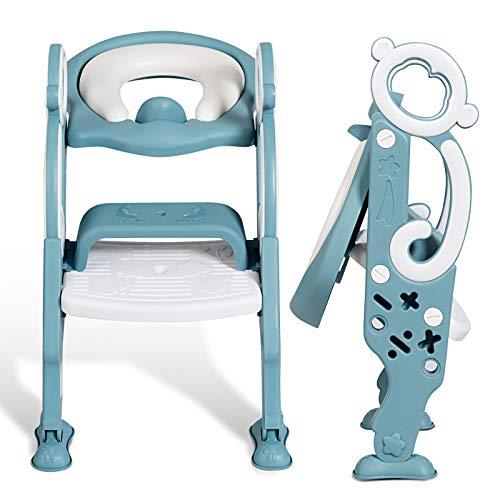 DREAMADE Kinder Töpfchentrainer Toilettensitz mit Treppe, Toilettentrainer Lerntöpfchen Sitz mit Leiter, rutschfeste Trainingstoilette Kindertoilette mit 2 Armlehnen für Baby klein Kind (Hellgrün)