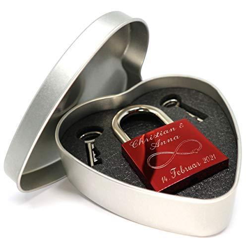 Liebesschloss rot glänzend mit Geschenkdose und 2 Schlüssel persönliche Gravur