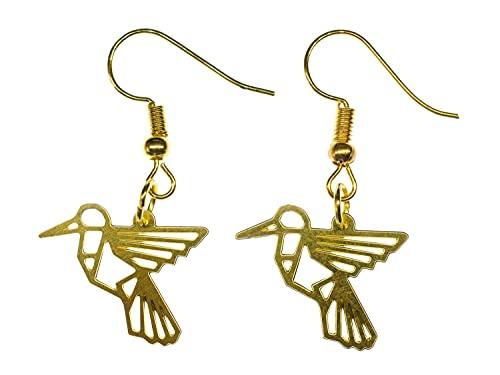 joyería hecha a mano pendientes plateados Pendientes I - Miniblings colibrí Pendientes geometría de de los pendientes de filigrana de oro pájaro