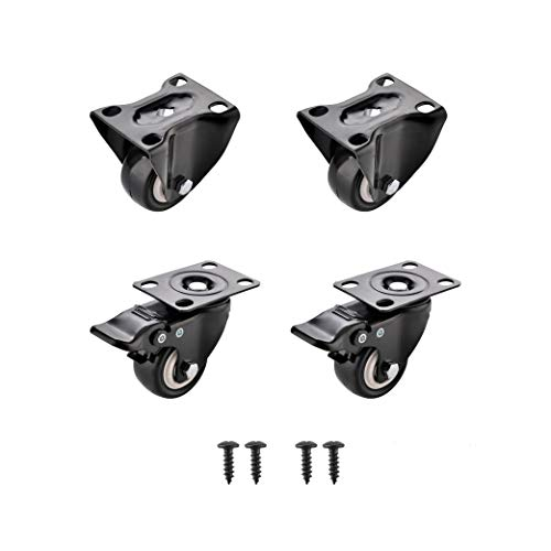"SungMi 4 Pack 2"" Heavy Duty Caster Wheels Polyurethane PU Top Plate Caster 440lb Total Capacity for Set of 4 Black (2 Fixed & 2 Swivel with Brakes) Screws Included SM-AMS-220010"