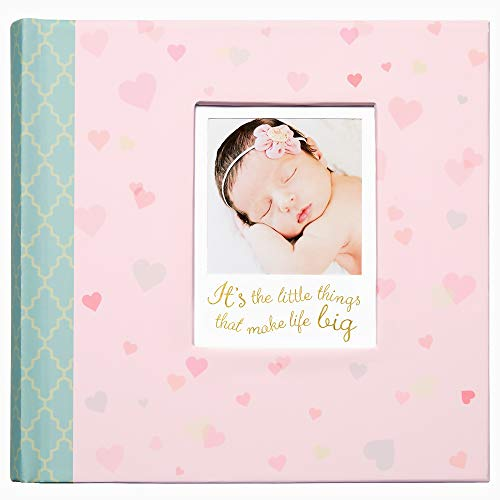 C.R. Gibson's Pink Infant Photo Album Photo Album For Newborns, 9.4 x 9.1 x 1.8 inches, 80 pages