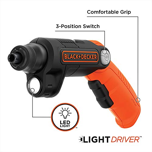 BLACK+DECKER 4V MAX Cordless Screwdriver with LED Light (BDCSFL20C)
