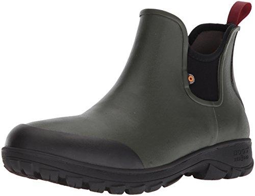 Bogs Men's Sauvie Slip On Low Height Chukka Waterproof Rain Boot, Dark Green, 9 M US