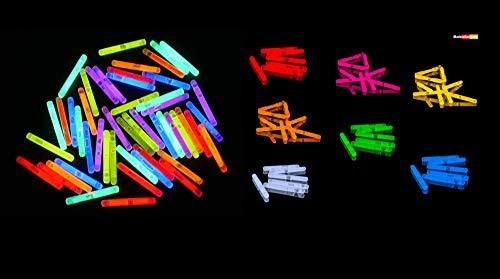 Eva Shop® 50 Premium Micro Mini Knicklichter 40 x 4,5 mm Leuchtstäbe Angelsport Bissanzeiger Glowstick Partylichter LED Luftballon Party Tischdekroration Neon 50er Pack im 6 Farben Mix