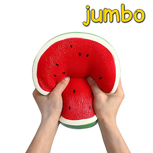 Anboor 9.4 Inches Squishies Watermelon Jumbo Kawaii Soft Slow Rising Scented Big Fruit Squishies Stress Relief Kid Toys Gift Collection Decoration Props
