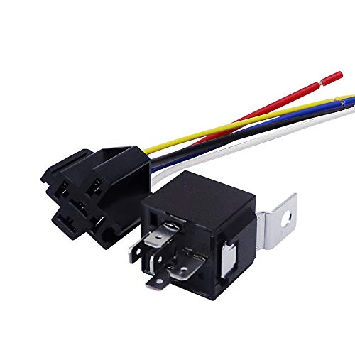 JD1914 Automotive Relay Harness Set 5-Pin 40A 12V SPDT with Interlocking Relay Socket and Wiring Harness-1 Pack
