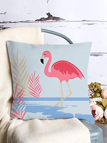 Funda de almohada decorativa de lino y algodón, 66 x 66 cm, diseño de flamenco, color rosa