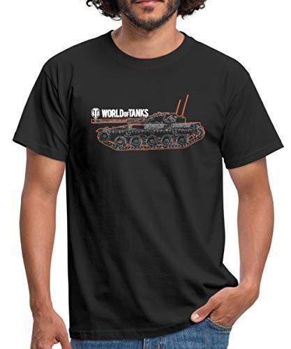 World of Tanks Panzer Outline Männer T-Shirt, XL, Schwarz