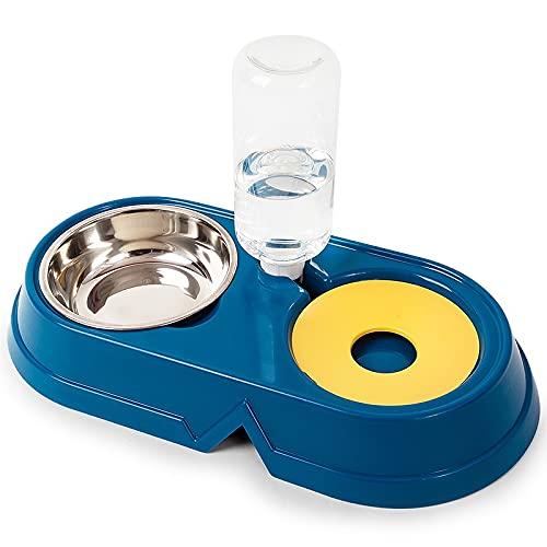 Cuenco de Comida para Gatos de Acero Inoxidable + Fuente de Agua automática, Almacenamiento automático de Agua, Conveniente e higiénico, fácil de Limpiar, Azul Oscuro