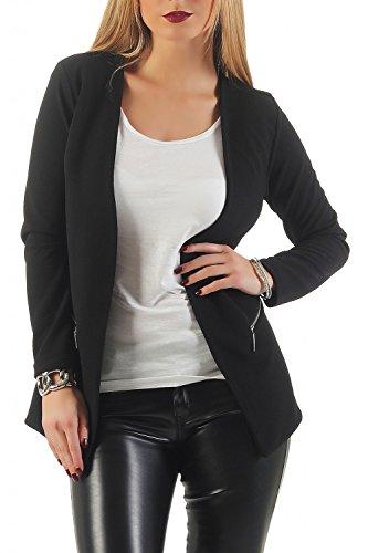 Damen lang Blazer mit Taschen (501), Farbe:Schwarz, Blazer 1:36 / S