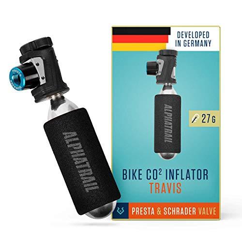 Alphatrail Micro Inflador CO2 Travis - para Las válvulas Presta & Schrader I pequeño y Ligero (27g) I con el Control rotativo I para los Cartuchos con Rosca de 16, 20 o 25g (no está Incluido)