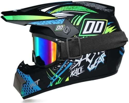 STKK Casco de moto para niños, cascos y guantes para niños y gafas para niños, casco integral desmontable (verde, XL)