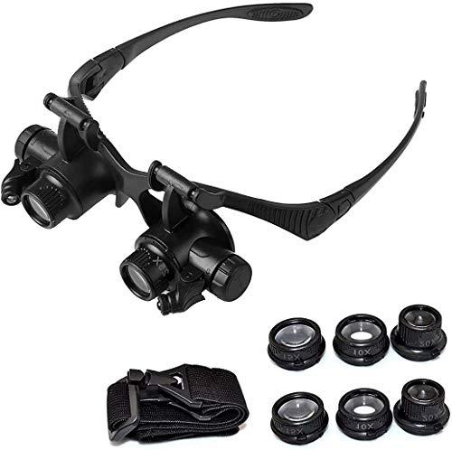Gafas de lupa para la cabeza con lupa 10X, 15X, 20X, 25X, aumento de 25X, lupa de luz LED ajustable, lupa para reparación de relojes lupa gafas herramientas
