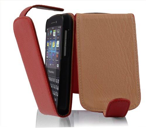 Cadorabo Hülle für BlackBerry Q10 in Inferno ROT - Handyhülle im Flip Design aus Strukturiertem Kunstleder - Hülle Cover Schutzhülle Etui Tasche Book Klapp Style