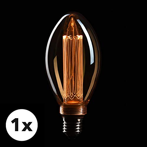 CROWN LED Edison Illusion Filament Glühbirne E27 Fassung, Dimmbar, 3,5W, 1800K, Warmweiß, 230V, EL23, Antike Filament Beleuchtung im Retro Vintage Look