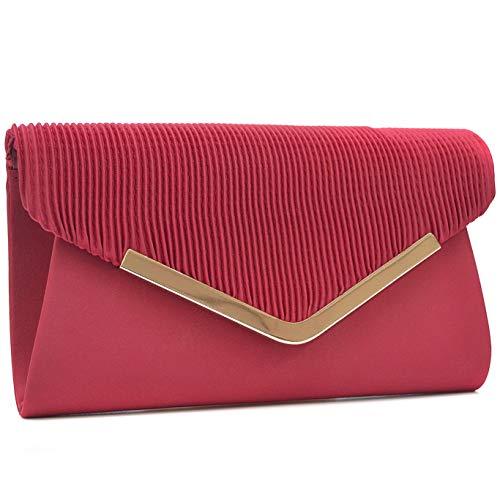 Vain Secrets Damen Handtasche Umhänge Tasche Clutch Abendtaschen in vielen Farben (21 cm Lang - 12 cm Hoch - 5 cm Breit, Rot Satin)