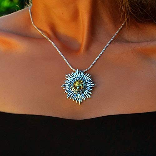 Sterling Sunburst Necklace with Yellow Bismuth Crystal by Element 83